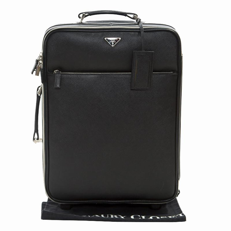 6db1e94e2302 Prada Black Saffiano Leather Trolley Rolling Luggage For Sale at 1stdibs