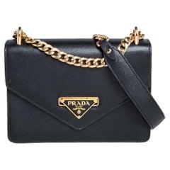 Prada Black Saffiano Lux and Soft Calf Leather Flap Cossbody Bag