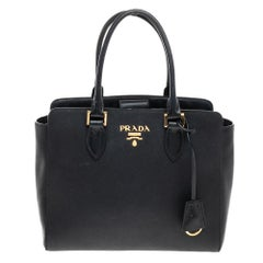 Prada Black Saffiano Lux and Soft Calf Leather Tote