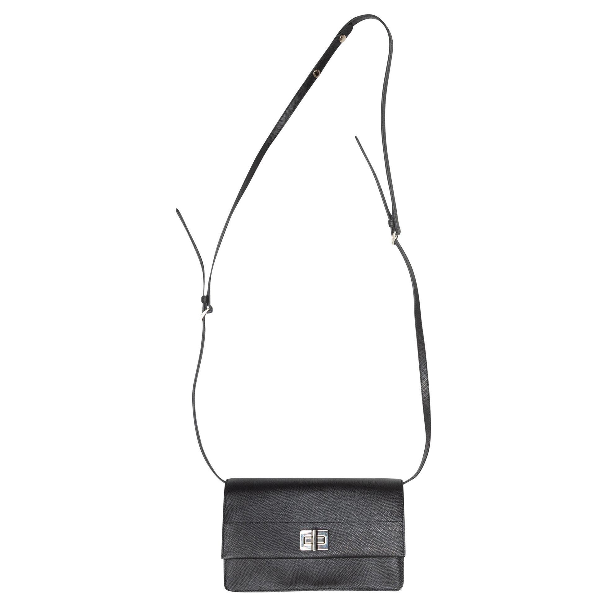 Prada Black Saffiano Lux Flap Crossbody Bag