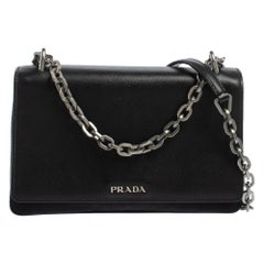Prada Black Saffiano Lux Leather and Nylon Flap Chain Shoulder Bag