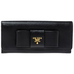 Prada Black Saffiano Lux Leather Bow Continental Wallet