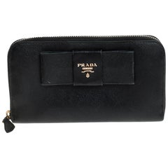 Prada Black Saffiano Lux Leather Bow Zip Around Wallet