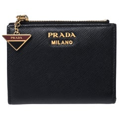 Prada Black Saffiano Lux Leather Compact Wallet