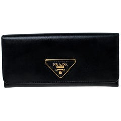 Prada Black Saffiano Lux Leather Continental Wallet