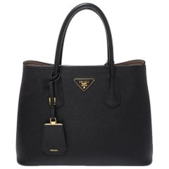 Prada Black Saffiano Lux Leather Double Tote