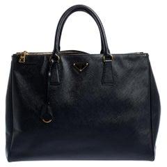 Prada Black Saffiano Lux Leather Executive Double Zip Tote