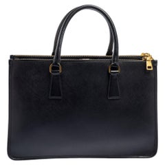 Prada Black Saffiano Lux Leather Frame Double Zip Tote