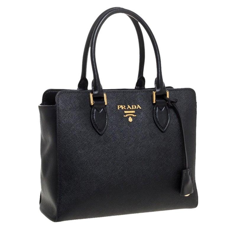 Women's Prada Black Saffiano Lux Leather Galleria Tote For Sale