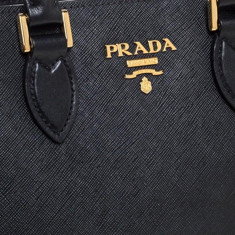 Prada Black Saffiano Lux Leather Galleria Tote For Sale 4