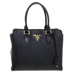 Prada Black Saffiano Lux Leather Galleria Tote