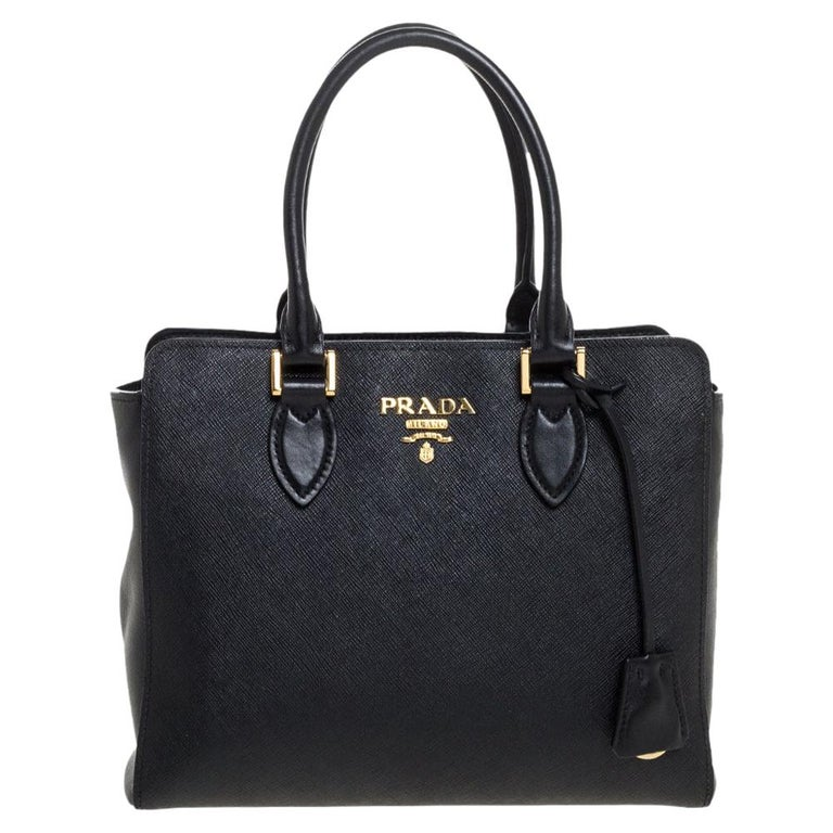 Prada Black Saffiano Lux Leather Galleria Tote For Sale