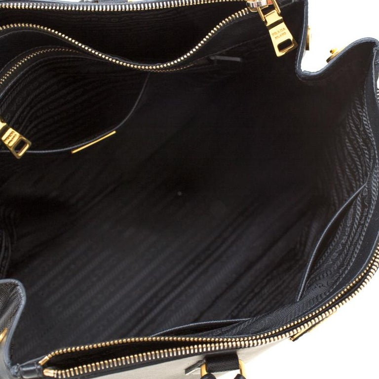 Prada Black Saffiano Lux Leather Large Double Zip Tote 6