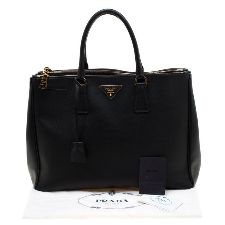 Prada Black Saffiano Lux Leather Large Double Zip Tote 8