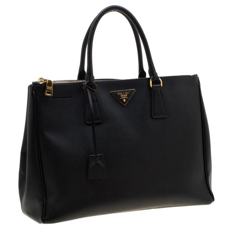 Women's Prada Black Saffiano Lux Leather Large Double Zip Tote