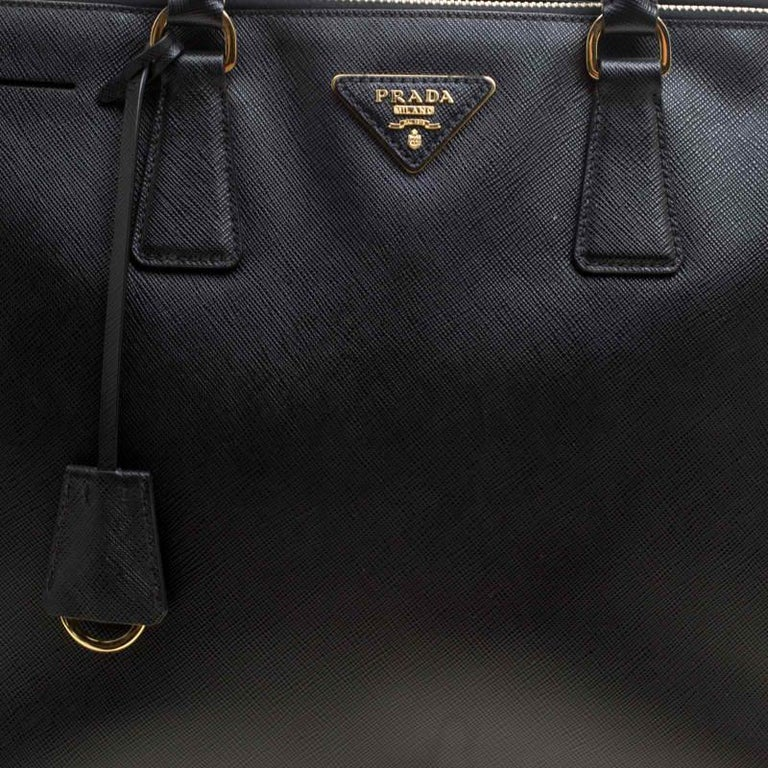 Prada Black Saffiano Lux Leather Large Double Zip Tote 1