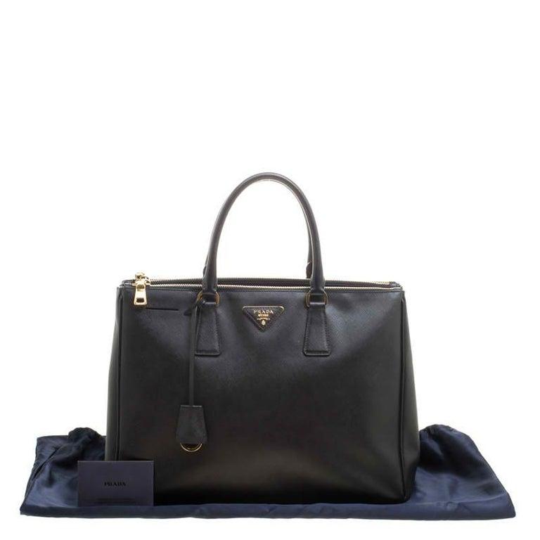 Prada Black Saffiano Lux Leather Large Double Zip Tote 4