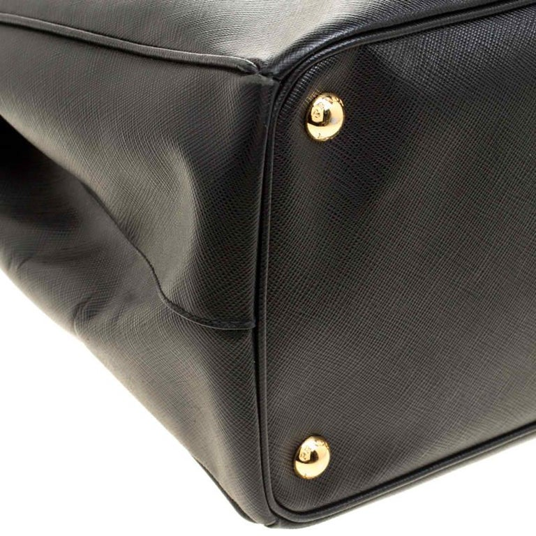 Prada Black Saffiano Lux Leather Large Double Zip Tote 5