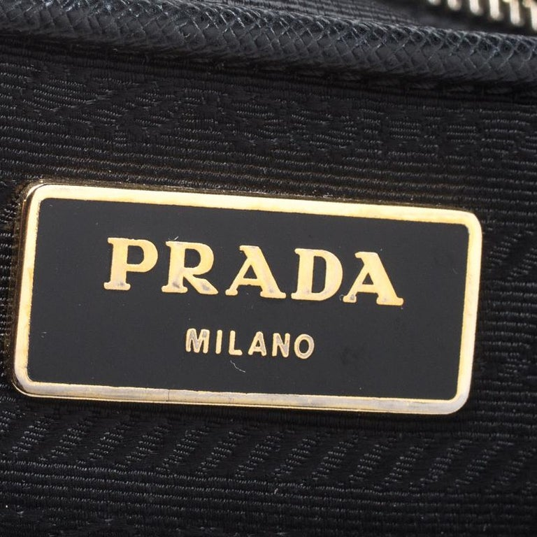 Prada Black Saffiano Lux Leather Large Double Zip Tote For Sale 5