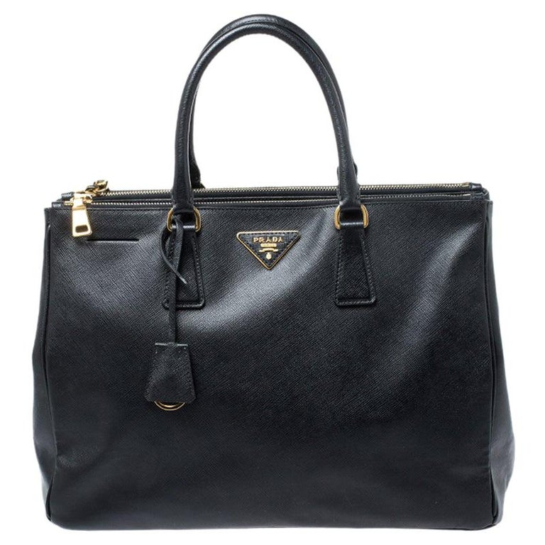 Prada Black Saffiano Lux Leather Large Double Zip Tote For Sale