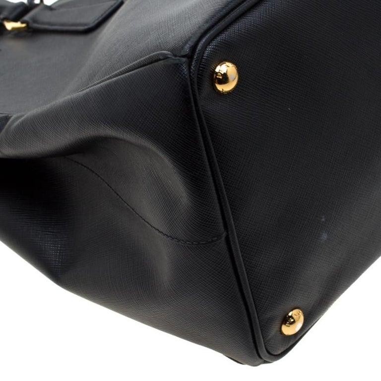 Prada Black Saffiano Lux Leather Large Gardener's Tote 8