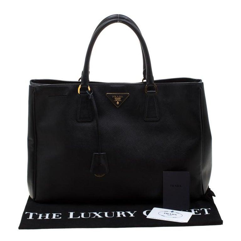 Prada Black Saffiano Lux Leather Large Gardener's Tote 9