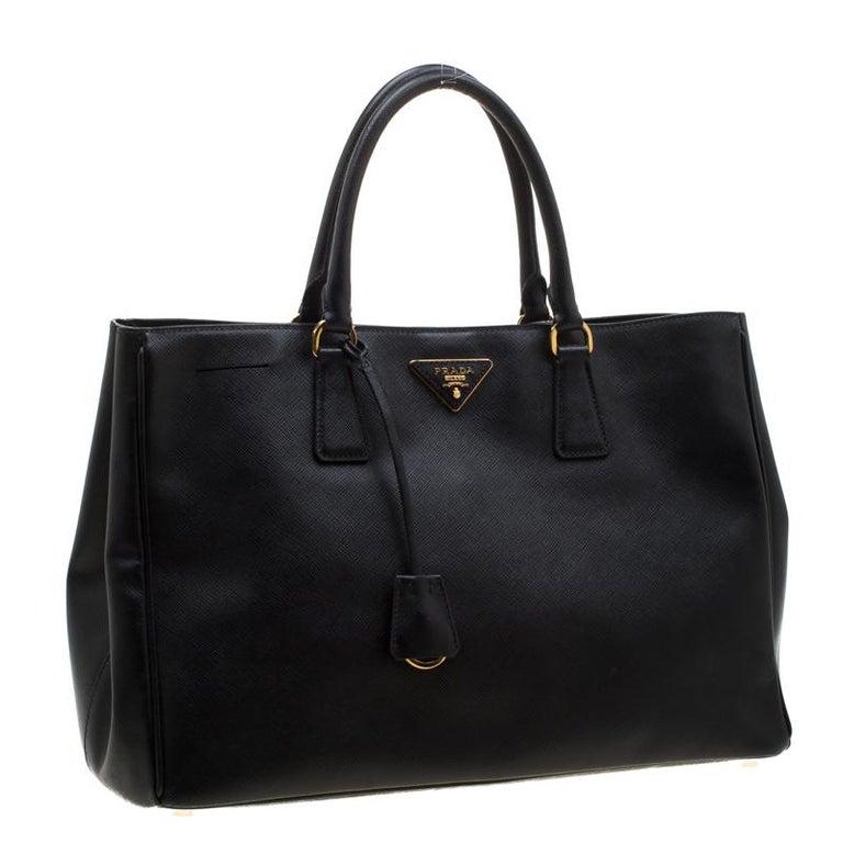Prada Black Saffiano Lux Leather Large Gardener's Tote 1