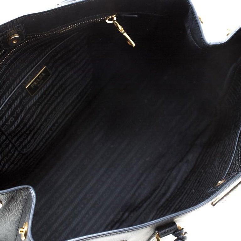 Prada Black Saffiano Lux Leather Large Gardener's Tote 4