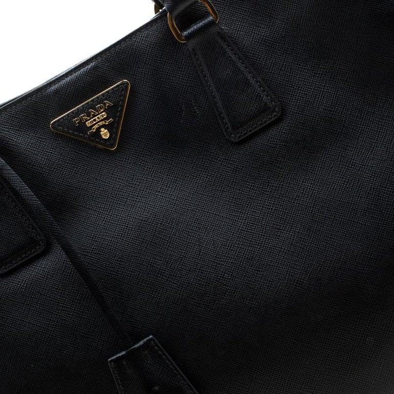 Prada Black Saffiano Lux Leather Large Gardener's Tote 5