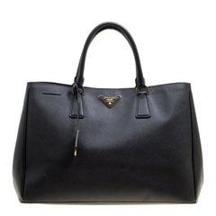 e0102f760d91 Prada Black Saffiano Lux Leather Large Gardener s Tote