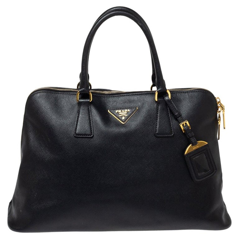 Prada Black Saffiano Lux Leather Large Promenade Bag For Sale