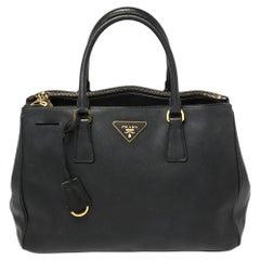 Prada Black Saffiano Lux Leather Medium Double Zip Tote