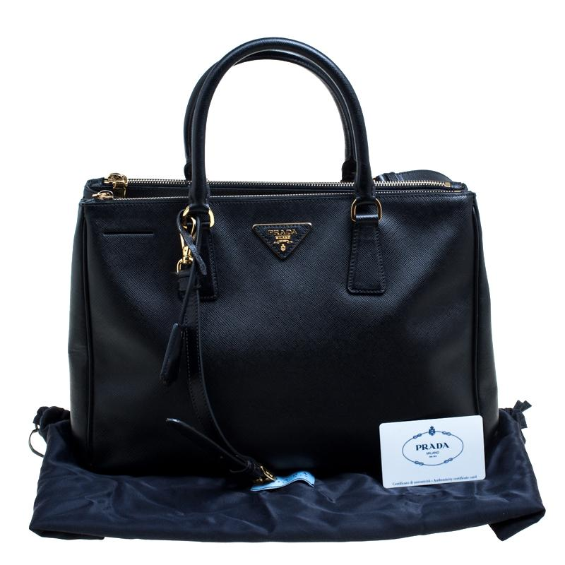 5b589837a445 ... czech prada black saffiano lux leather medium galleria double zip top  handle bag for sale at