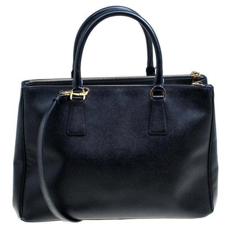 83859c2d53a2 Prada Black Saffiano Lux Leather Medium Galleria Double Zip Top ...