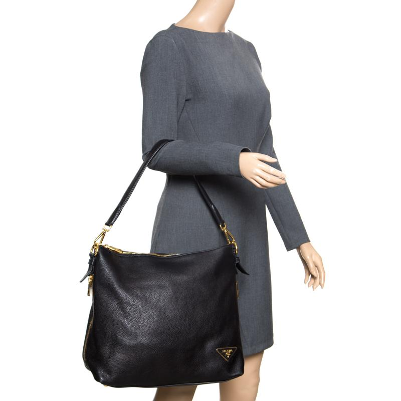 260941071d56 Prada Black Saffiano Lux Leather Medium Galleria Double Zip Top Handle Bag  For Sale at 1stdibs