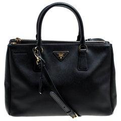 Prada Black Saffiano Lux Leather Medium Galleria Double Zip Top Handle Bag