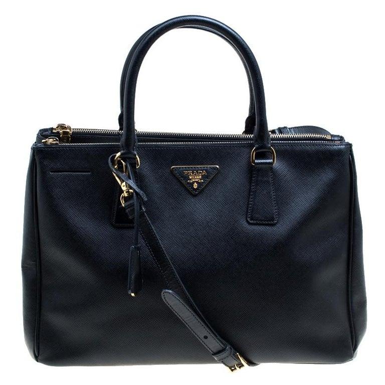 60b529fe28eb Prada Black Saffiano Lux Leather Medium Galleria Double Zip Top Handle Bag  For Sale