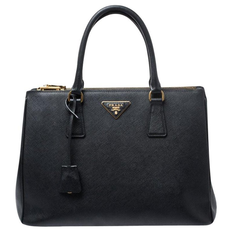 Prada Black Saffiano Lux Leather Medium Galleria Double Zip Tote For Sale