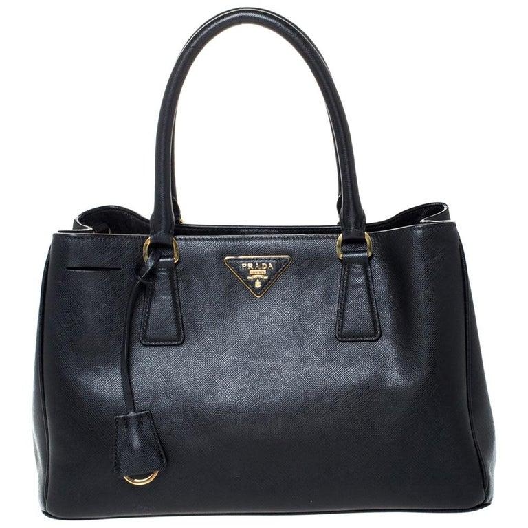 Prada Black Saffiano Lux Leather Medium Galleria Tote For Sale