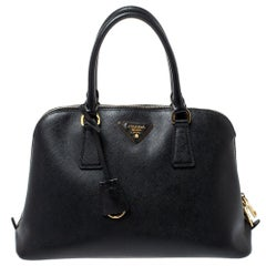 Prada Black Saffiano Lux Leather Medium Promenade Bag