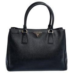 Prada Black Saffiano Lux Leather Medium Tote