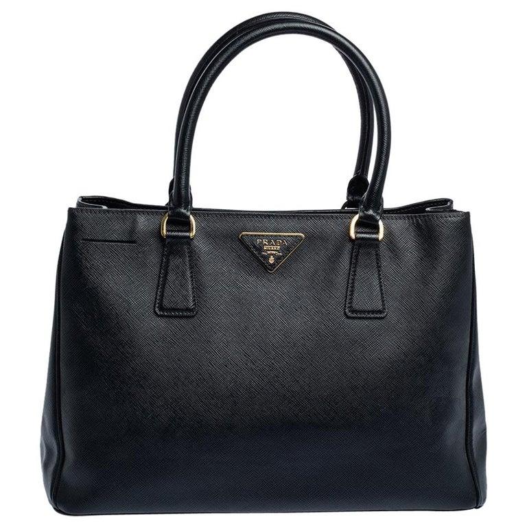 Prada Black Saffiano Lux Leather Medium Tote For Sale