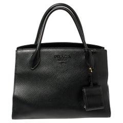 Prada Black Saffiano Lux Leather Monochrome Tote