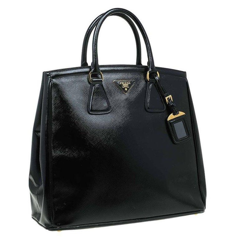 Women's Prada Black Saffiano Lux Leather Parabole Shopping Tote
