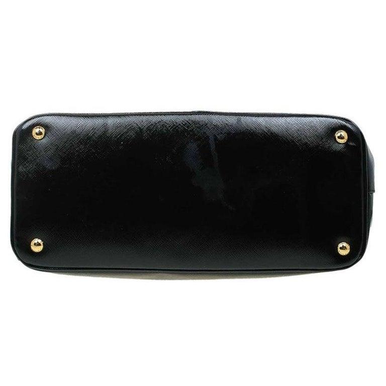 Prada Black Saffiano Lux Leather Parabole Shopping Tote 1