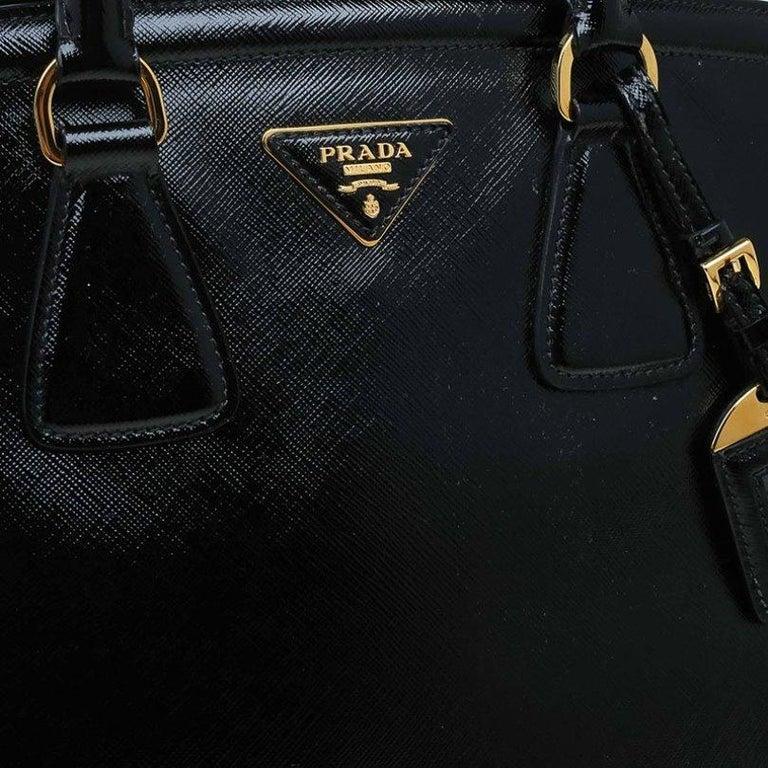 Prada Black Saffiano Lux Leather Parabole Shopping Tote 4