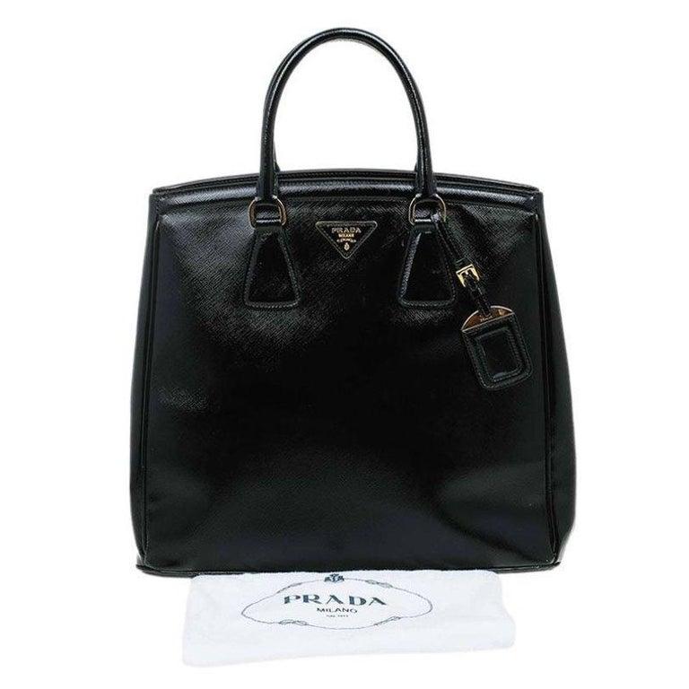 Prada Black Saffiano Lux Leather Parabole Shopping Tote 5