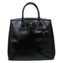 Prada Black Saffiano Lux Leather Parabole Shopping Tote