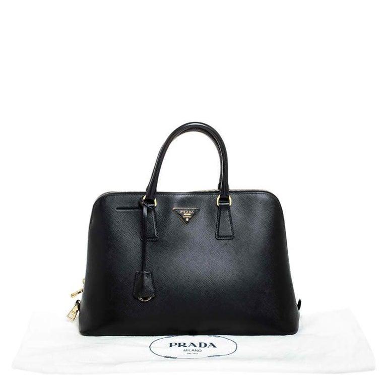Prada Black Saffiano Lux Leather Promenade Bag For Sale 7