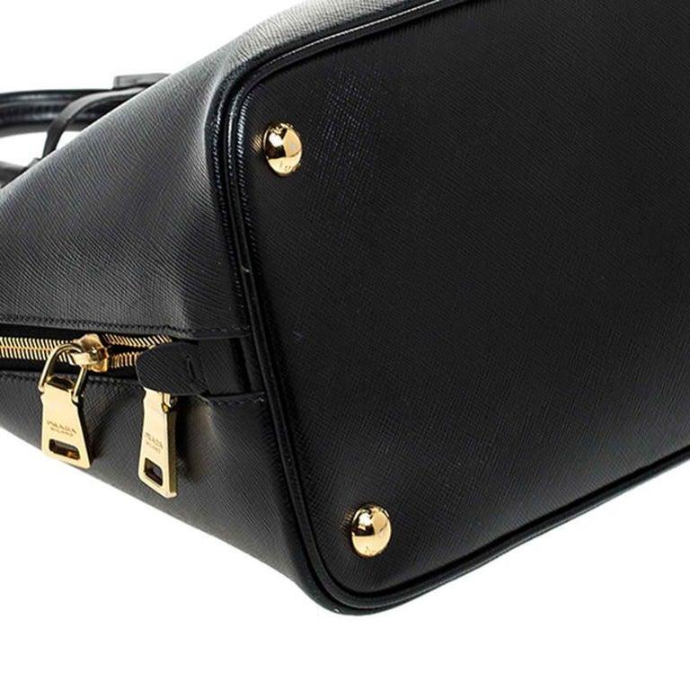 Prada Black Saffiano Lux Leather Promenade Bag For Sale 2